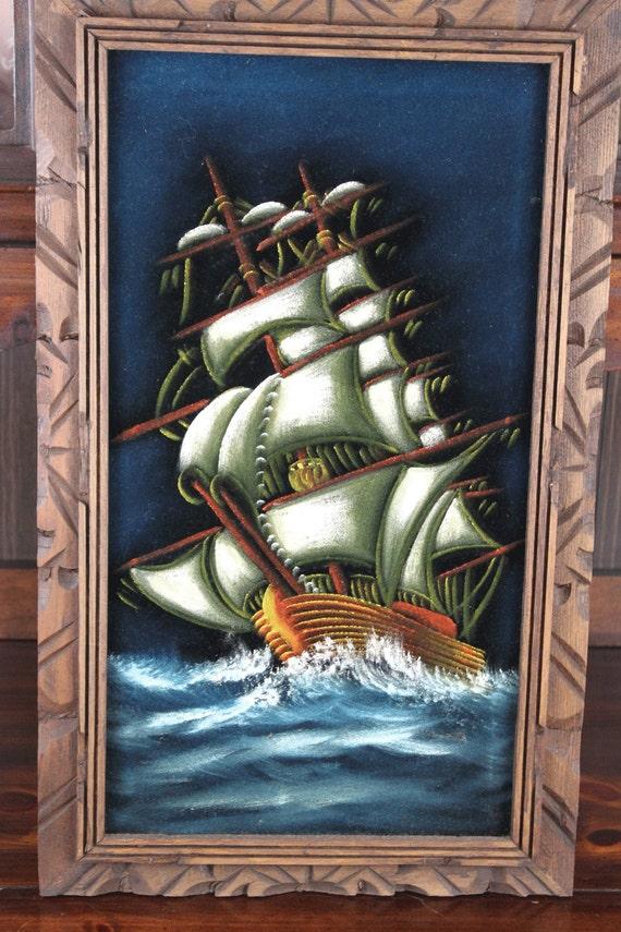 Vintage Black Velvet Painting Vintage Ship Painting