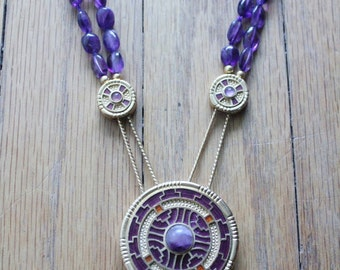 Vintage 70's Hand Tied Amethyst and Enamel Gold Medallion Choker