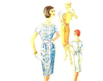 Vintage 1960s Dress Pattern Size 12 Bust 32 Simplicity 3970 Color Block