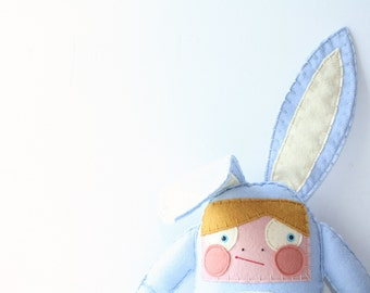 Blue Bunny Stuffed Animal, Felt Rabbit Soft Doll