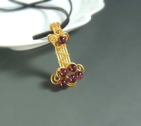 Garnet golden pendant, 18 k gold plated jewelry, january birthstone necklace gift for Valentines