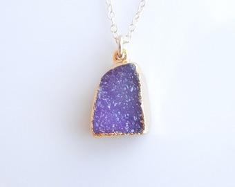 Druzy Necklace in Grape Purple - OOAK Jewelry