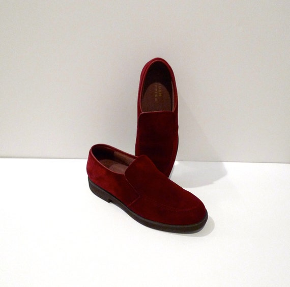 Hush Puppies Shoes Vintage Jewel Tone Maroon Red Slip Ons Garnet Suede Leather Oxford Flats Rockabilly Hipster Womens Size 8 1990s