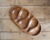 Sale! Vintage Teak Wood Appetizer Serving Tray