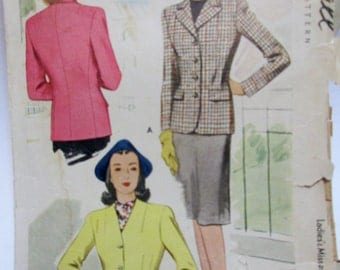 McCall 5550 Womens 40s Plaid Jacket Sewing Pattern Bust 32