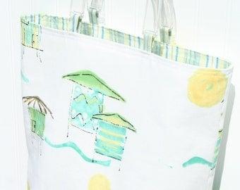 Linen Beach Bag - White Beach Bag - Blue-Green Beach Bag - Cabana - White and Blue Green - Summer Purse - Small Tote