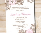 Floral Cross Baptism Invitation - You Print