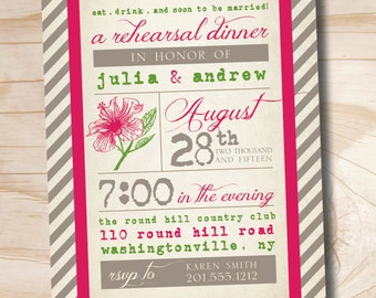 VINTAGE POSTER Hibiscus Engagement/Rehersal Dinner Party Invitation - Printable digital file or printed invitations