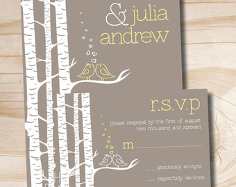 Modern Birch Tree Lovebirds Wedding Invitation and Response Card Invitation Suite