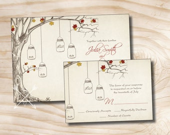 VINTAGE TREE Mason Jar Fall Tealight Candle Wedding Invitation and Response Card Invitation Suite