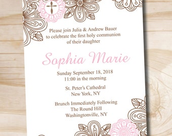 Floral Cross Baptism Invitation - Printable digital file or printed invitations