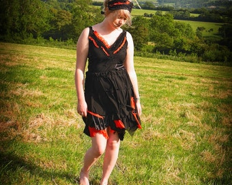 Black & orange fairy dress, Adult witch costume, gothic party dress, pagan festival clothing Size medium