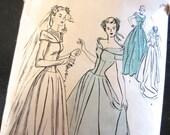Size 20. 1940s sewing pattern / Butterick 4521 / midcentury wedding bridesmaid bridal dress train / bertha cuff / sheer yoke / bust 38