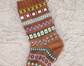 Hand knit Christmas stocking in copper with FREE US Shipping