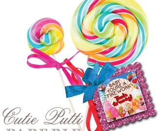 """Katy Perry Inspired Party Favor Tags 2""""x 2"""" by Cutie Putti Paperie"""