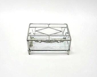 Glass Box, Geometric Art Deco Clear Stained Glass Keepsake Box, House Warming Gift, Wedding Gift