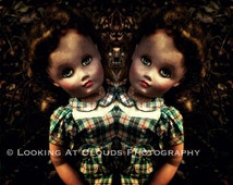 creepy twins, spooky old doll photo, sinister sisters, freak show, macabre decor if you dare, Halloween, zombie dolls