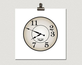 Prime Time Clock Prime Number Math Poster 12 x 12 inches