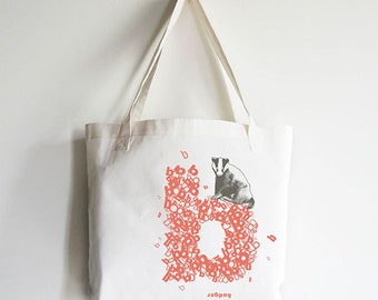 "Personalized ""B"" for Badger - Reusable Tote Bag"