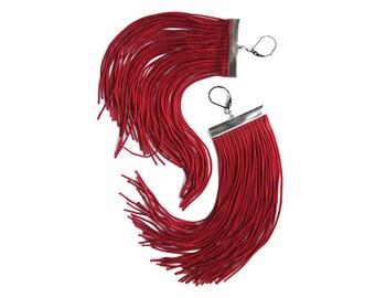 Christmas Red Short Fringe Earrings.Santa Red Extra Long Earrings..Shoulder Dusters.Very Long Earrings.Statement Earrings.Scarlet Dangle
