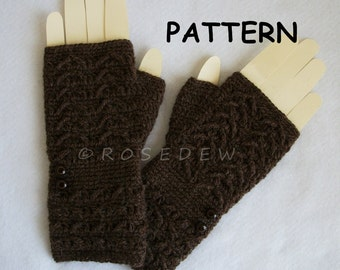 Instant Download to PDF Crochet PATTERN: Chevron Textured Fingerless Mitts
