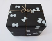 FARFALLE, Handprinted Wrapping Paper, black & white, 1 Sheet, 70 x 50 cm