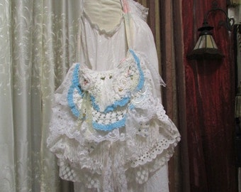 Layered Lace Purse, shabby n chic bag romantic white laces ruffled light blue lace embellished handmade TatteredDelicates fabric bag