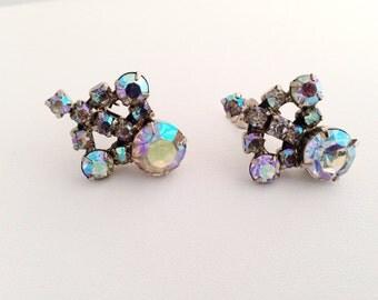 Vintage Aurora Borealis Rhinestone Clip Earrings - AB rhinestones - clip-on - rainbow - spectrum blue - purple - crystal rhinestone
