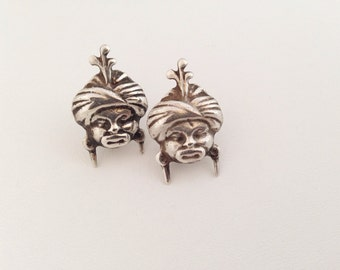 Arabian Nights Style Sterling Silver Gypsy Head Earrings - Vintage 40s Blackamoore face genie imp tribal - turban fortune teller baghdad