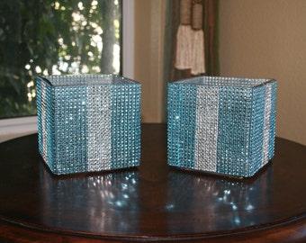 Pair of Turquoise/Robin Egg/Aqua blue and silver Rhinestone Blinged Glass Vase-square bling vase