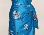 Vintage 1950s inspired turquoise blue oriental print Hawaiian sarong halter wiggle dress M L VLV rockabilly Viva