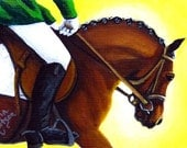 Horse ACEO Print Giclee - English Horse - Hunter Jumper Horse Equestrian Rider Painting SFA
