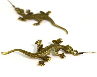 Long Brass Lizard Earrings