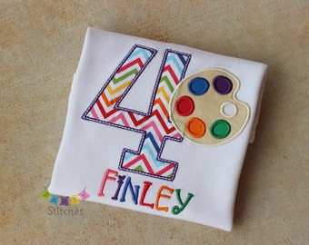Paint Party Birthday Shirt - Art Party Birthday Shirt Paint Palette PERSONALIZED
