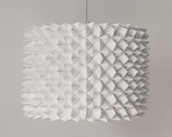 Large Prasada Drum Shade - White Faceted Folded Paper Hanging Lamp SHADE ONLY
