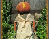 Haloween Pumpkin Doll, Prim Halloween Pumpkin, Primitive Pumpkin, Prim Pumpkin Doll