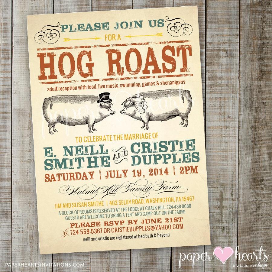 Outdoor Wedding Invitations: Hog Roast Wedding Invitation For Outdoor Wedding Or Reception