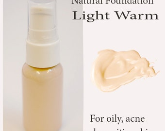 LIGHT WARM - All Natural Liquid Foundation - For Sensitive and Acne Prone Skin Types