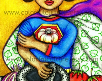 """Muy Salsa - Very Salsa - Very Brave -Original Art by Karina Gomez - Print on Fade Free Archival Matte Paper 8.5""""x11"""" or 11""""x17"""" Mexican Art"""