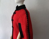 Red and Black Wool Cape.