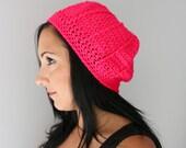 Neon Pink Spider Web Beanie Hat, Crochet Slouchy Beret Hat, EDM Fashion Accessories