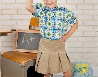 School Belle Skort Pattern: Girls uniform skirt sewing pattern, uniform skort sewing pattern
