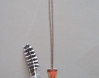 boho tribal leather necklace - orange tones leather triangle necklace - tribal leather boho necklace - cognac brown tones leather necklace