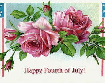 Fourth of July Greeting Card | Patriotic Flag and Pink Roses