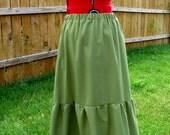 SALE!  Handmade green linen skirt 'the Finest Vine' a-line, long, tier, side seam pockets, hippie festival skirt OOAK