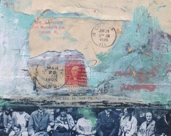 """Angela Petsis, Vintage Collage, Paper Collage, Mixed Media Art, Original Collage, """"A Family History"""""""