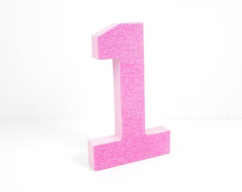 Pink Glitter Number 1 - First Birthday - Party Decor - Princess Party - Pretty in Pink - Big Number for Birthday Party