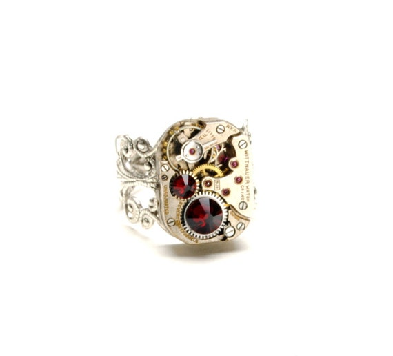 JULY Steampunk Ring, RED Steampunk Jewelry Silver Gothic Steampunk Watch Ring Victorian Steam Punk Jewelry by Victorian Curiosities