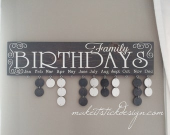 Grey Stained and White Vinyl Family Birthday Celebration Board Wall Hanging