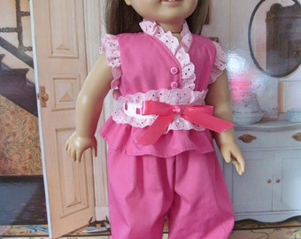 Historical Pajamas, Eyelet Trimmed Pajamas, Ruffled Pajamas, 18 inch Doll Clothes